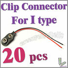 20 pcs I Type 9V 9 Volt Battery Snap On Clip Connector With Cable