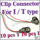 20 pcs I & T type 9V Volt battery snap on clip connector With Cable