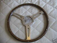 "MOTO-LITA  DERRINGTON TYPE 100/4 100/6 WOODRIM 3 SPOKE 16"" FLAT STEERING WHEEL"
