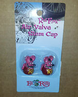RAT FINK PINK VALVE CAPS(x2) By MOONEYES, Hot Rod, Custom, Chopper, Bobber