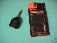"RADIOSHACK DUAL HEADPHONE ADAPTER GOLD SERIES 1/4"" NEW"