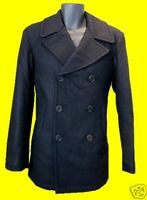 MENS US NAVY STYLE REEFER TRENCH WOOL DOUBLE BREATED COAT JACKET ARMY MILITARY