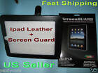 Apple iPad Leather Cover Case Flip Sleeve Leg Stand + New ONE Screen Protector