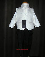 Boys Cream Waistcoat Black 4 Piece Suit Wedding Pageboy Formal Occasion 8 Years