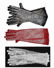 GLOVES Lace Spider Web SEXY BLACK RED or WHITE Goth
