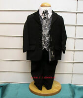 BOYS BLACK SILVER PAISLEY WAISTCOAT 5 PIECE SUIT WEDDING PAGE BOY PARTY AGE 12