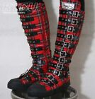 Gothic Punk Buckle Strap Knee Sneaker Red Tartan Boot