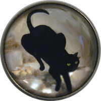 """1"""" Crystal Low Dome Button Black cat going down Stairs FREE US SHIPPING"""