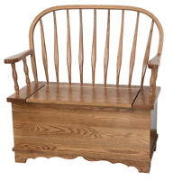 Amish Bent Feather Solid Wood Bench with Storage Country Cottage Blankets