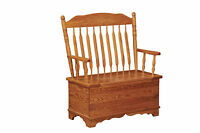 Amish Post Paddle Solid Wood Bench with Storage Blanket Box Country Cottage