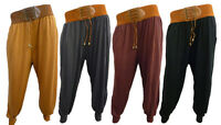 Womens Ladies New Belted Harem Trousers/Pants (Sizes 8-14)