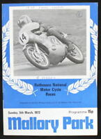 MALLORY PARK ROTHMANS NATIONAL MOTORCYCLE RACE PROGRAMME 5 MAR 1972