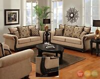 Delray Traditional Sofa & Love Seat Living Room Furniture Set Taupe Chenille NEW