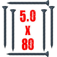 """50, 5.0 x 80mm BLACK PASSIVATED WOOD SCREW, CSK, LUBED, 10g x 3"""""""