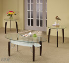 NEW 3PC BALTIC GLASS TOP CHROME METAL CAPPUCCINO WOOD COFFEE END TABLE SET