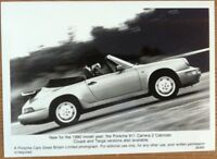 PORSCHE 911 CARRERA 2 CABRIOLET PRESS PHOTOGRAPH CIRCA 1990 BLACK & WHITE