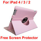 360° Rotating New iPad 3rd Generation Pink Leather Cover Case + Screen Protector