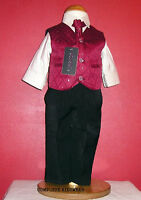 Boys Wine Black 4 Piece Suit Wedding Pageboy Party Formal Occasion Age 8-9 Years