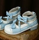 """Customized Two-Color Sweet Lolita Princess Scalloped Mary Janes Dolly 1"""" Heel"""