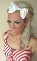 Nude Pastel Peach Pink Floral Bow On Gold Alice Hair Head Band Choochie Choo