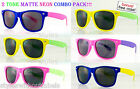 6 Pairs ! 80s Super Retro SOFT MATTE NEON PARTY Colors Frame Sunglasses Smoke