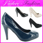 NEW LADIES PATENT HIGH HEEL WORK OFFICE CASUAL COURT SANDALS SHOES SIZES UK 3-8