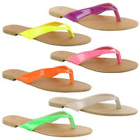New Ladies Toe Post Flat Summer Beach Flip Flop Holiday Sandals Size 3 4 5 6 7 8