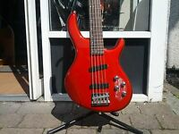 Cort Action V A 5 String Bass in Red Sparkle from Cadno Music