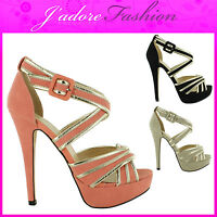 NEW LADIES PEEP TOE STILETTO HIGH HEEL PLATFORM PARTY SEXY SANDALS SIZES UK 3-8