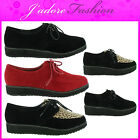 NEW LADIES LACE UP PLATFORM LOW WEDGE CREEPERS THICK SOLE GOTH SHOES SIZE UK 3-8