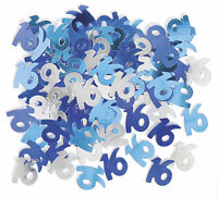 Blue Silver 16th Birthday Party Confetti / Sprinkles - Age 16 Table Decorations