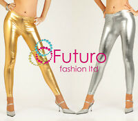 Sexy Shiny Wet Look Silver & Gold Full Ankle Length Leggings All Sizes!