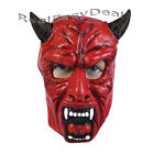 Horned Red Devil Mask with Fangs Halloween Fancy Dress Adult BM398