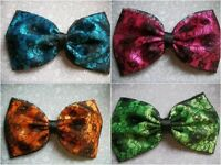"""HANDMADE 5"""" SATIN & FLORAL LACE BOW HAIR CLIP 50S VINTAGE STYLE 80'S RETRO NEON"""