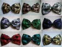 """HANDMADE 5"""" SATIN & FLORAL LACE BOW BROOCH 50s VINTAGE 80s RETRO FOR DRESS ETC"""