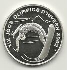 (W-7) ANDORRA 2002 10 DINERS OLYMPIC SNOWBOARDER STERLING SILVER IMP PROOF COIN