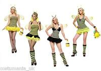Sexy Queen Bee Fancy Dress Bug Costume +Wings Hen Night Outfit Animal Theme