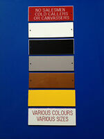 Engraved Sign NO SALESMEN COLD CALLERS OR CANVASSERS*Choice of Colours* FREE P&P