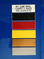 Engraved Sign 'NO JUNK MAIL CHARITY BAGS OR LEAFLETS'  FREE P&P *Various Sizes*