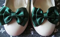1 PAIR FOREST GREEN SATIN DOUBLE BOW SHOE CLIPS VINTAGE STYLE GLAMOUR 40'S 50'S