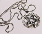 "PENTANGLE Engraved Steel Pendant, 1.5"" Dia, with metal neck chain"