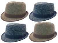 FEDORA TRILBY GANGSTER WOOL FEDORA BUCKET HAT MEN WOMEN CAP / Fur Style