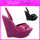 NEW LADIES ANKLE STRAPPY PEEP TOE SEXY PLATFORM WEDGE HEEL SANDALS SIZES UK 3-8