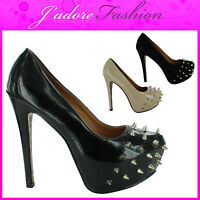 NEW LADIES STILETTO HIGH HEEL SPIKE STUDDED PLATFORM COURT SHOES SIZES UK 3-8