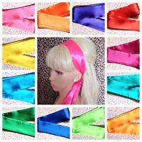 BRIGHT SATIN SELF TIE BOW HAIR WRAP SCARF HEAD BAND 50s 40sVINTAGE STYLE BRIGHT