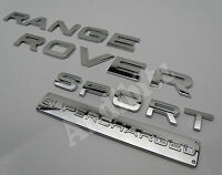 SUPERCHARGED RANGE ROVER SPORT in CHROME REAR BACK BOOT BADGE SET