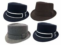 FEDORA TRILBY GANGSTER WOOL FEDORA BUCKET HAT MEN WOMEN CAP with Band 2
