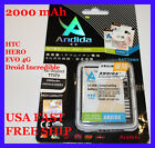 2X 2000 mAh HTC Evo 4G, Droid Incredible, Hero, Extended Slim Battery + Charger