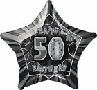 Black Silver 50th Birthday Helium Balloon / Balloons - Age 50 Party Decorations