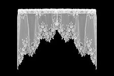 """Heritage Lace Tea Rose Swag Pair 60"""" x 30"""" - Colors: Ecru and White"""
